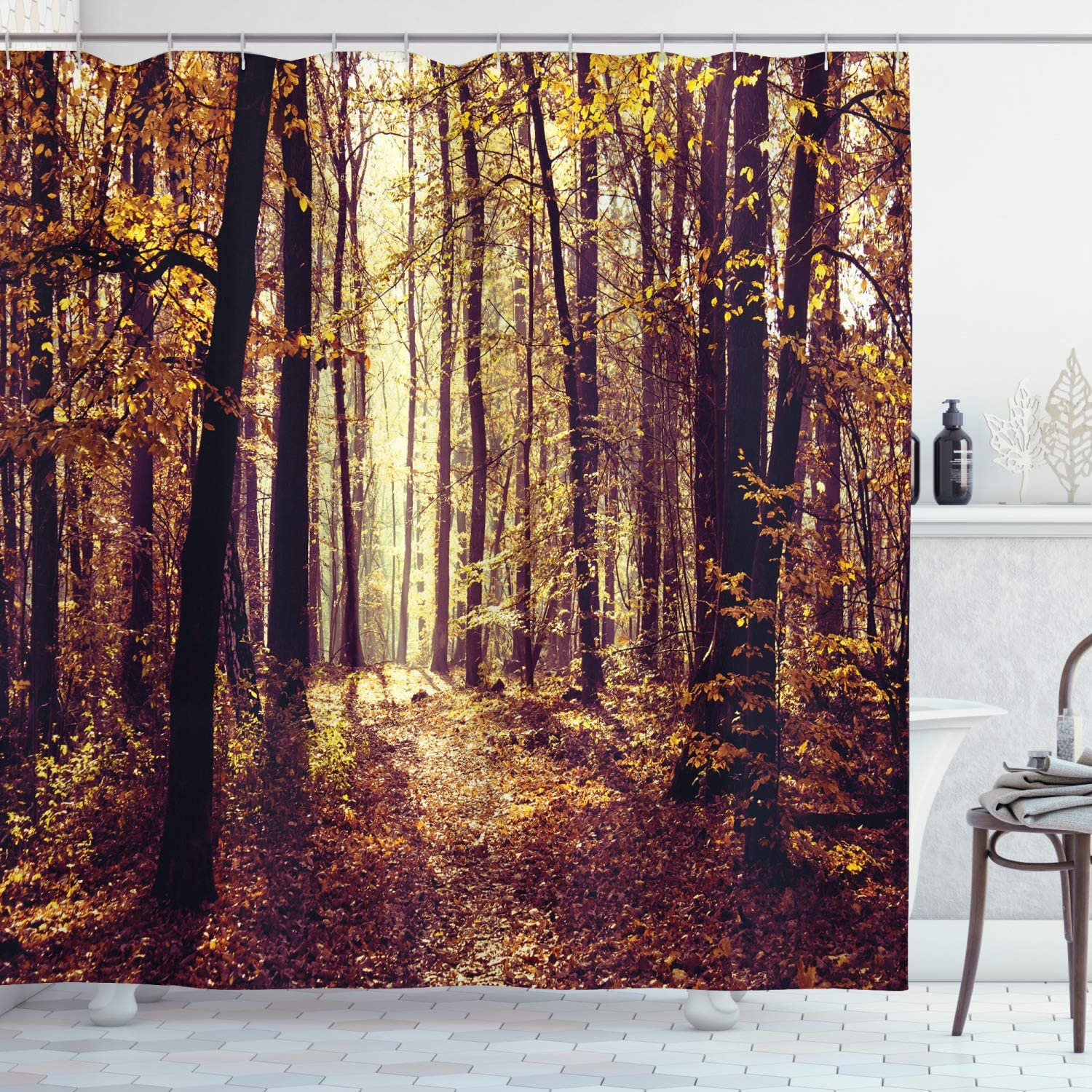 Ambesonne Forest Shower Curtain, Mysterious Atmosphere Misty Woods Tree Nature Landscape Image, Cloth Fabric Bathroom Decor Set with Hooks, 70