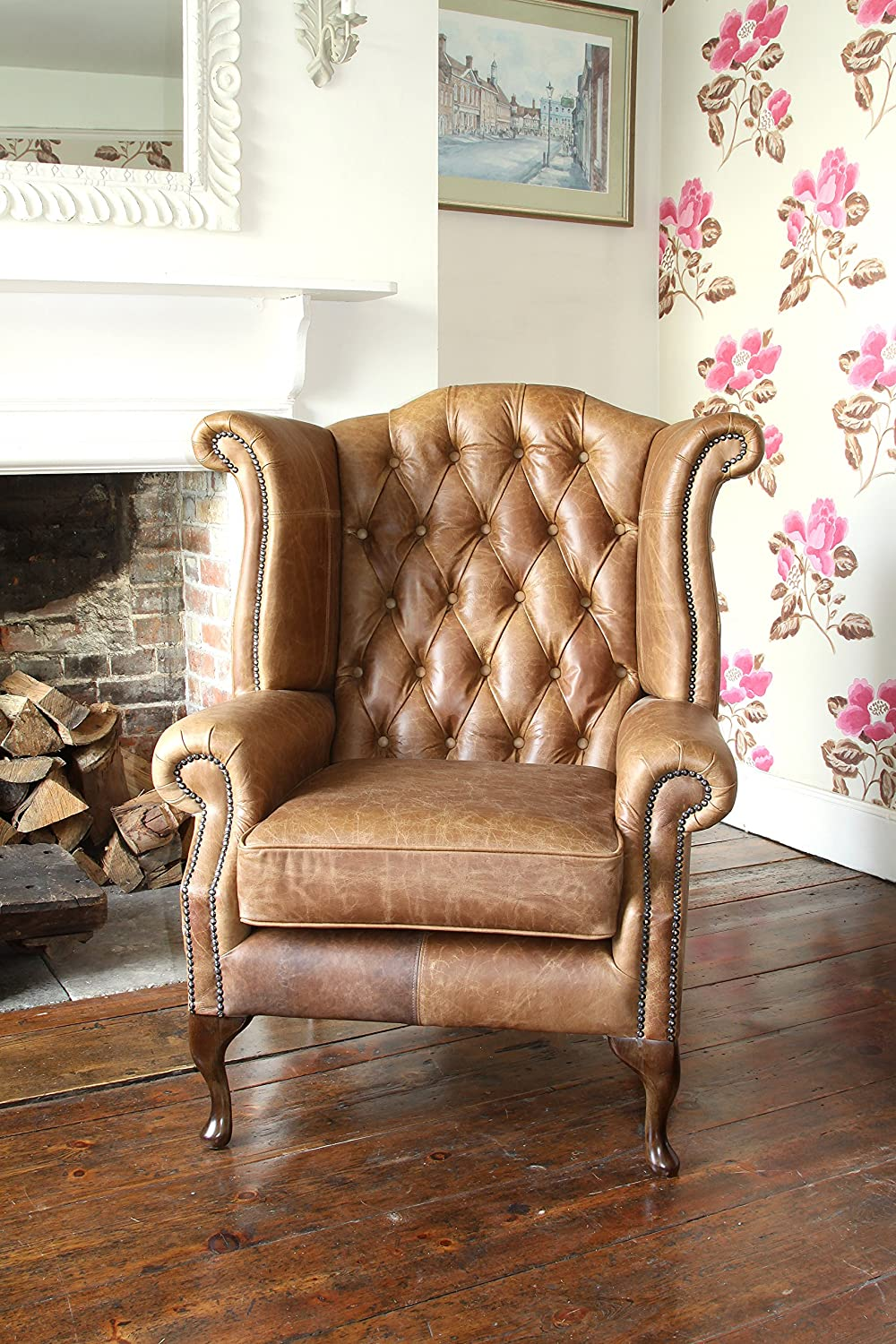 Handmade Chesterfield Queen Anne High Back Wing Chair in Vintage