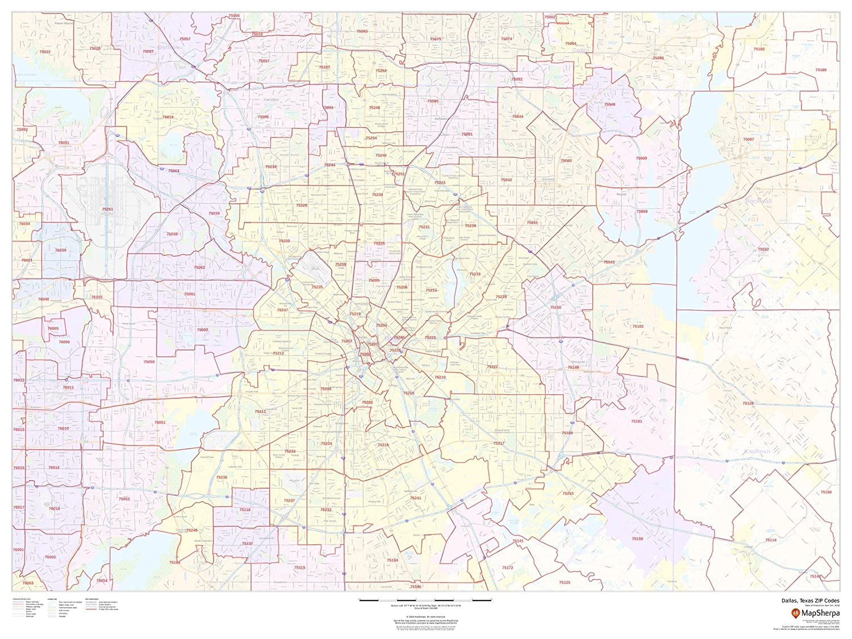 map of dallas zip codes Dallas Texas Zip Codes 48 X 36 Paper Wall Map Amazon In map of dallas zip codes