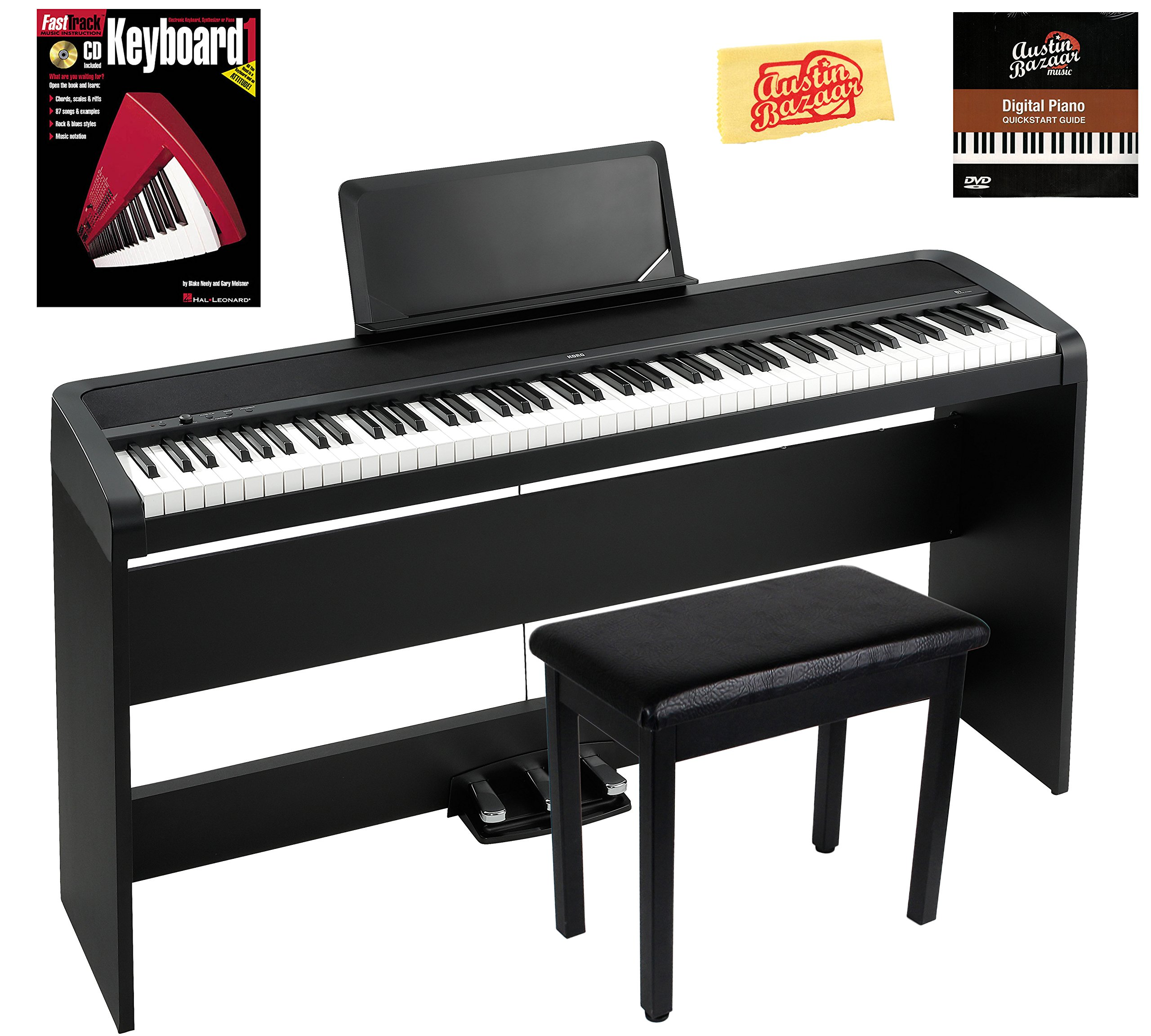 Korg B1SP Digital Piano - Black Bundle with Furniture Stand, Three-Pedal Unit, Bench, Instructional Book, Austin Bazaar Instructional DVD, and Polishing Cloth