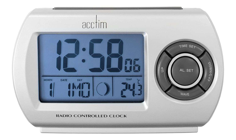 Acctim 71117 Denio Radio Controlled Alarm Clock, Silver: Amazon.co ...