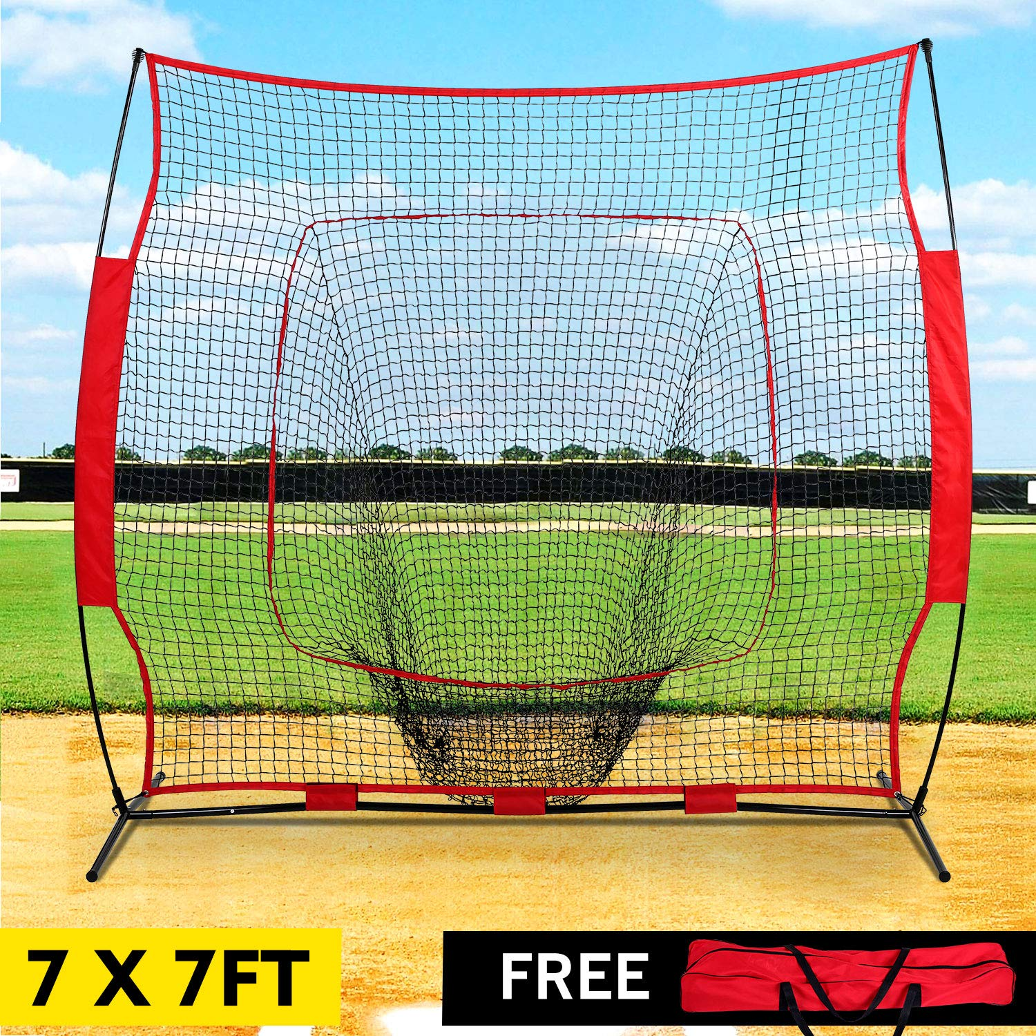 GARTIO 7'×7' Baseball Softball PracticeNet, Hitting & Pitching Batting Fielding Training Equipment with Carry Bag, Portable Easy Setup, Suit for Team or Solo All Skill Levels Training Indoor Outdoor by GARTIO