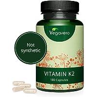 Vitamine k2 Vegavero® | 180 gélules | Fortement Dosée | ALL-TRANS >99% 200 µg Ménaquinone MK7 | K2 Vegan : Issue du Natto Fermenté | Renforce Effet Vitamine D3