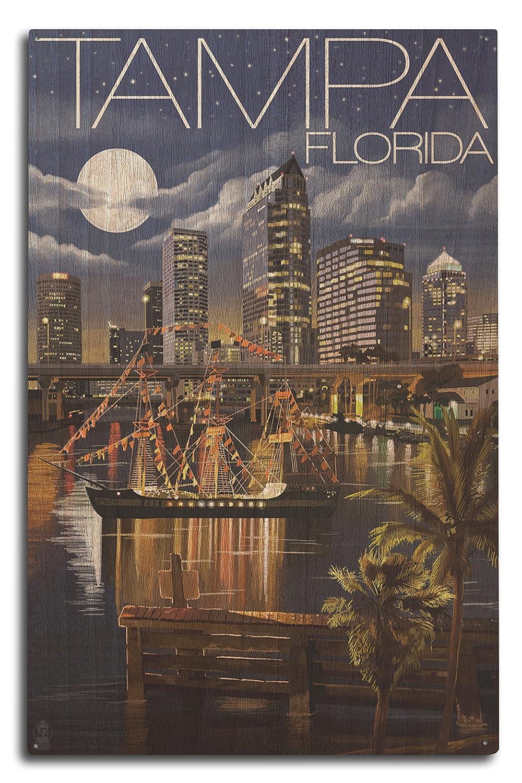タンパ、フロリダ州 – 夜のスカイライン 10 x 15 Wood Sign LANT-36926-10x15W B0736CD2ZP 10 x 15 Wood Sign