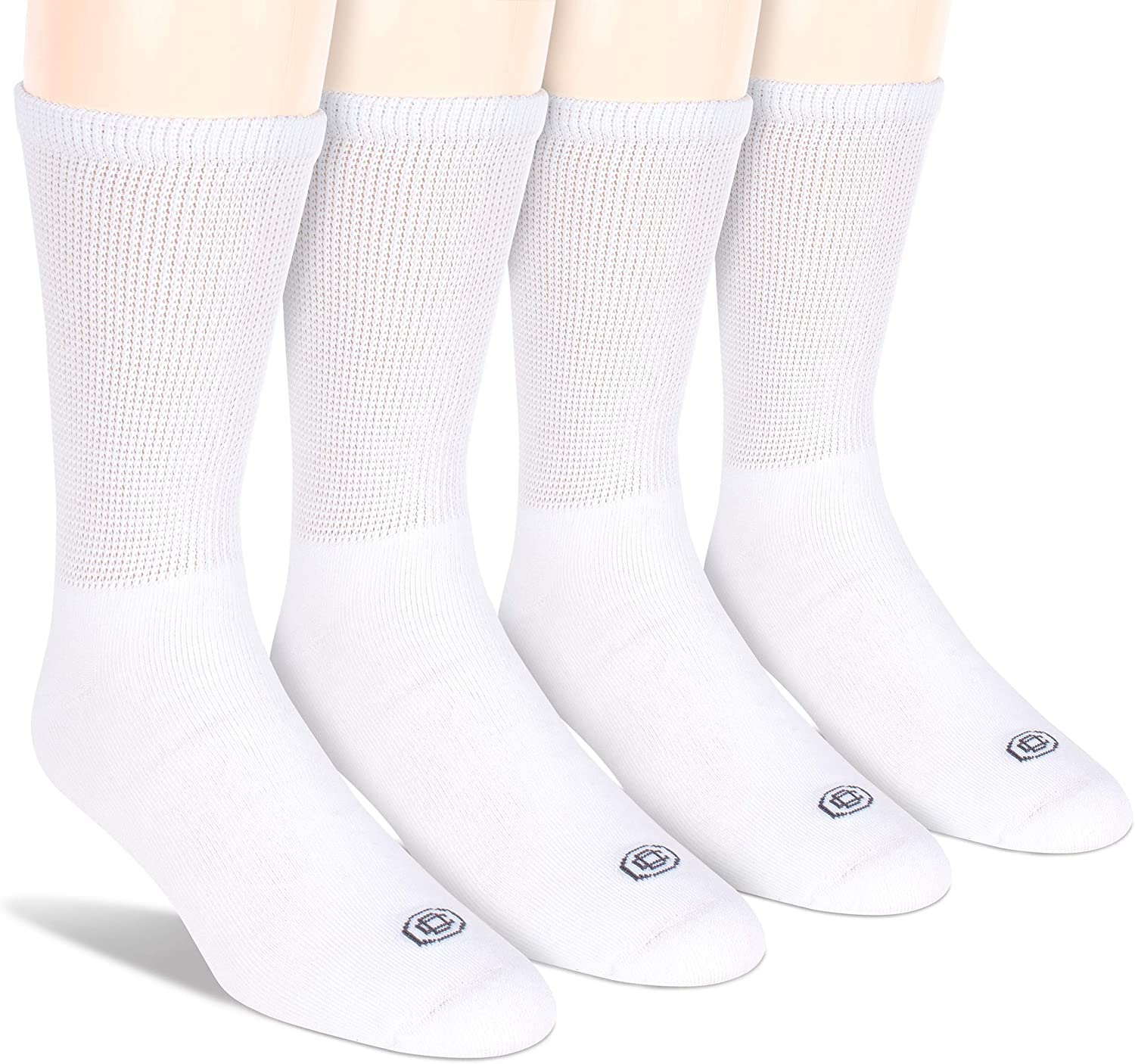 Doctor's Choice Men's Diabetic Crew Socks, Wide Non-Binding Top, Circulatory, Full Cushion, 4 Pack, White, Large, Sock Size 10-13: Health & Personal Care