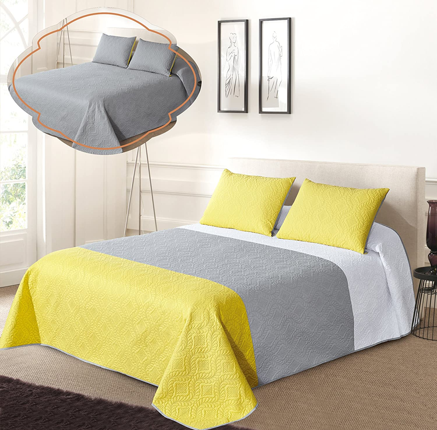 Reversible Bedspread Set (FULL/ QUEEN, White/Grey/Yellow