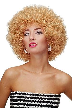 WIG ME UP ® - Peluca afro rubio dorado Funk Disco años 70 años 80 Foxy