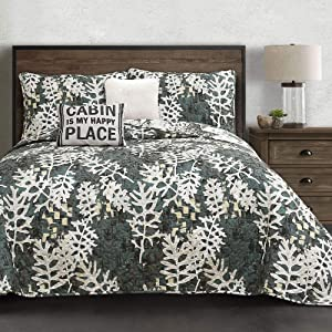 Lush Decor Camouflage Leaves Quilt-Reversible 5 Piece Bedding Set with Wintry Cabin Deer Scene-King-Green