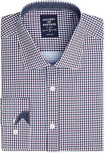 Society Of Threads Camisa de Vestir para Hombre, Ajustada ...