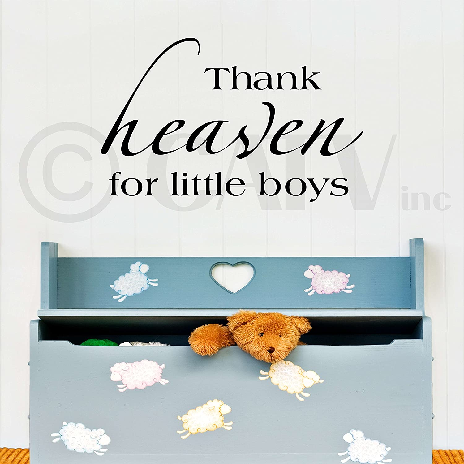 amazon com thank heaven for little boys vinyl lettering wall amazon com thank heaven for little boys vinyl lettering wall sayings vinyl wall quotes vinyl wall art home kitchen