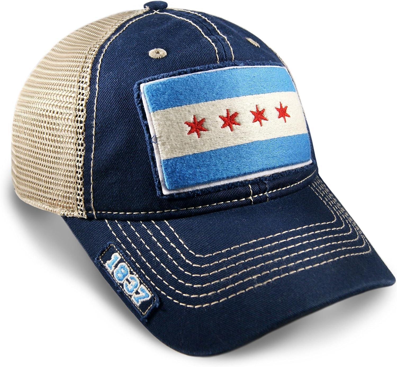 Chicago Flag Dad Hat in Navy Mesh Adjustable Snapback Vintage Look