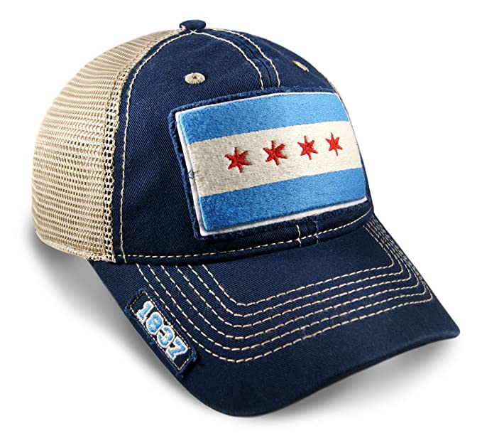 df0f4d93891 Image Unavailable. Image not available for. Color  Chicago Flag Dad Hat in  Navy Mesh ...
