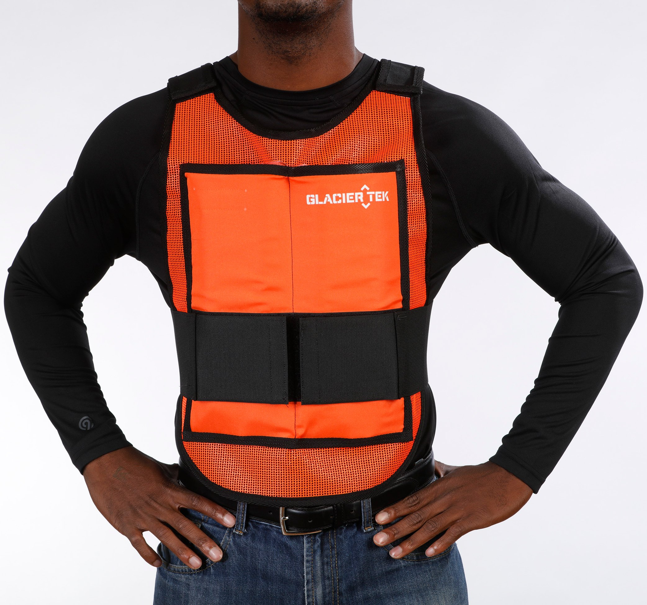 Glacier Tek Classic Cool Vest with Set of 8 Nontoxic Cooling Packs Orange