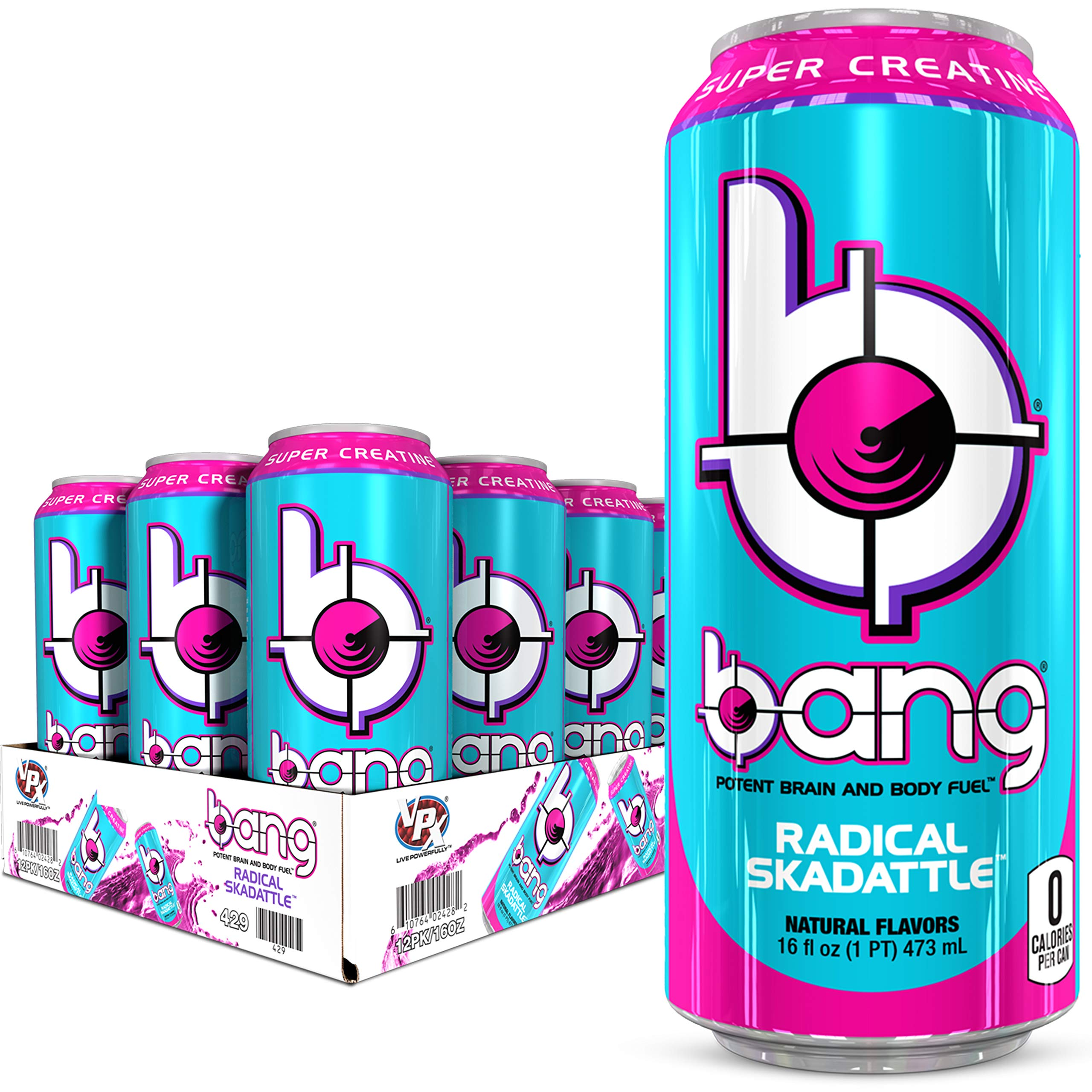 VPX Bang Radical Skadattle Energy Drink, 0 Calories, Sugar Free with Super Creatine, 16 Fl Oz (Pack of 12)