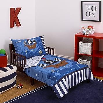 little tikes 4 piece pirates toddler bedding set blueredblack 52quot
