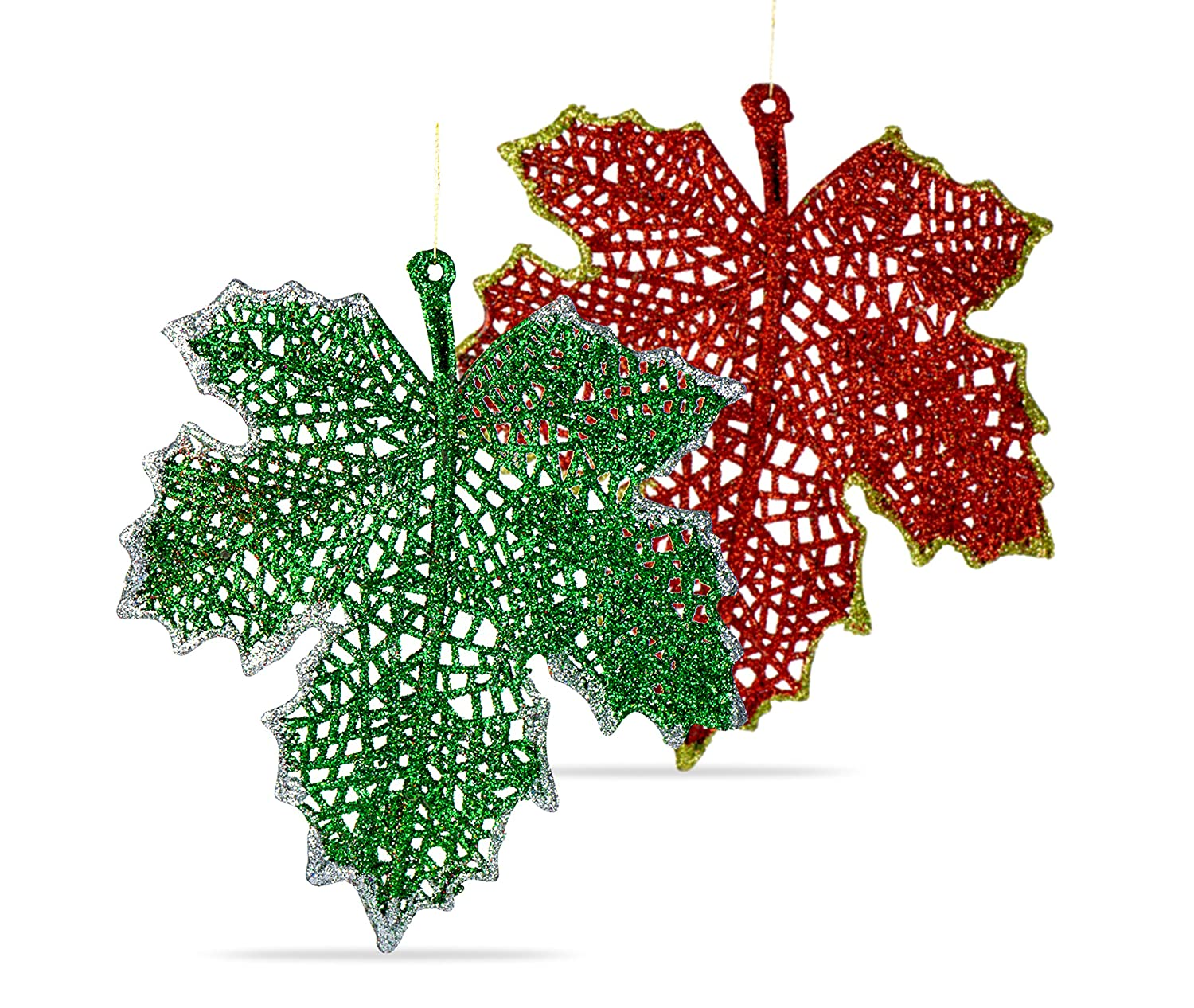 Christmas Leaves.Rn D Toys Christmas Ornament Leaves Shatterproof Hanging Ornaments For Christmas Tree Indoor And Outdoor Christmas Holiday Home Decoration Red