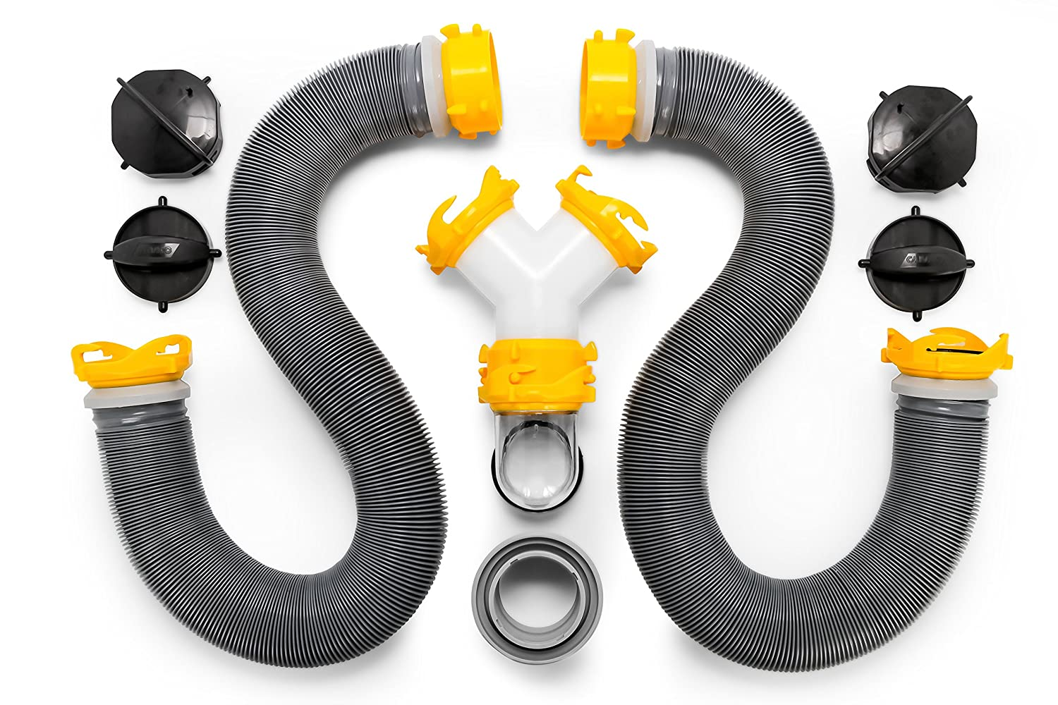 Easy to Use and Compresses for Simple Storage Heavy Duty Design with Swivel Fittings Camco 39665 Deluxe 10 Sewer Hose Extension Storage Caps Included