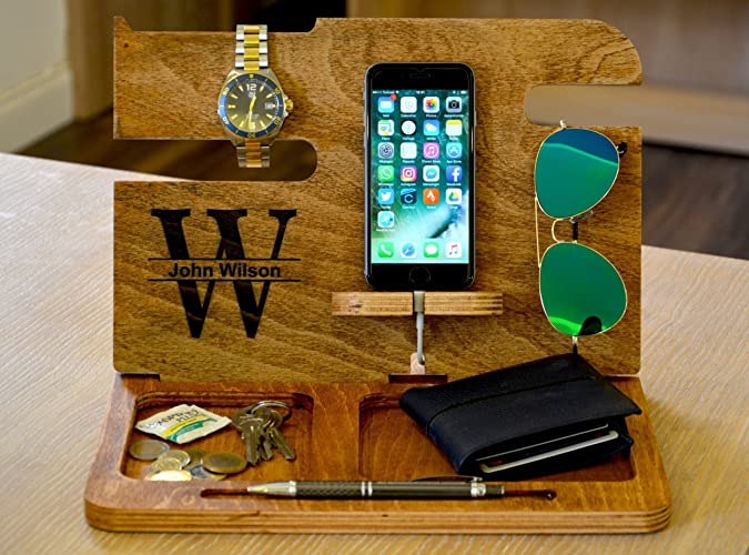 7799088e8868 Amazon.com  Fathers day gifts IPhone Docking Station Docking Station  Anniversary Gift For Him Gifts for Boyfriend Mens Desk Organizer wood valet   Handmade