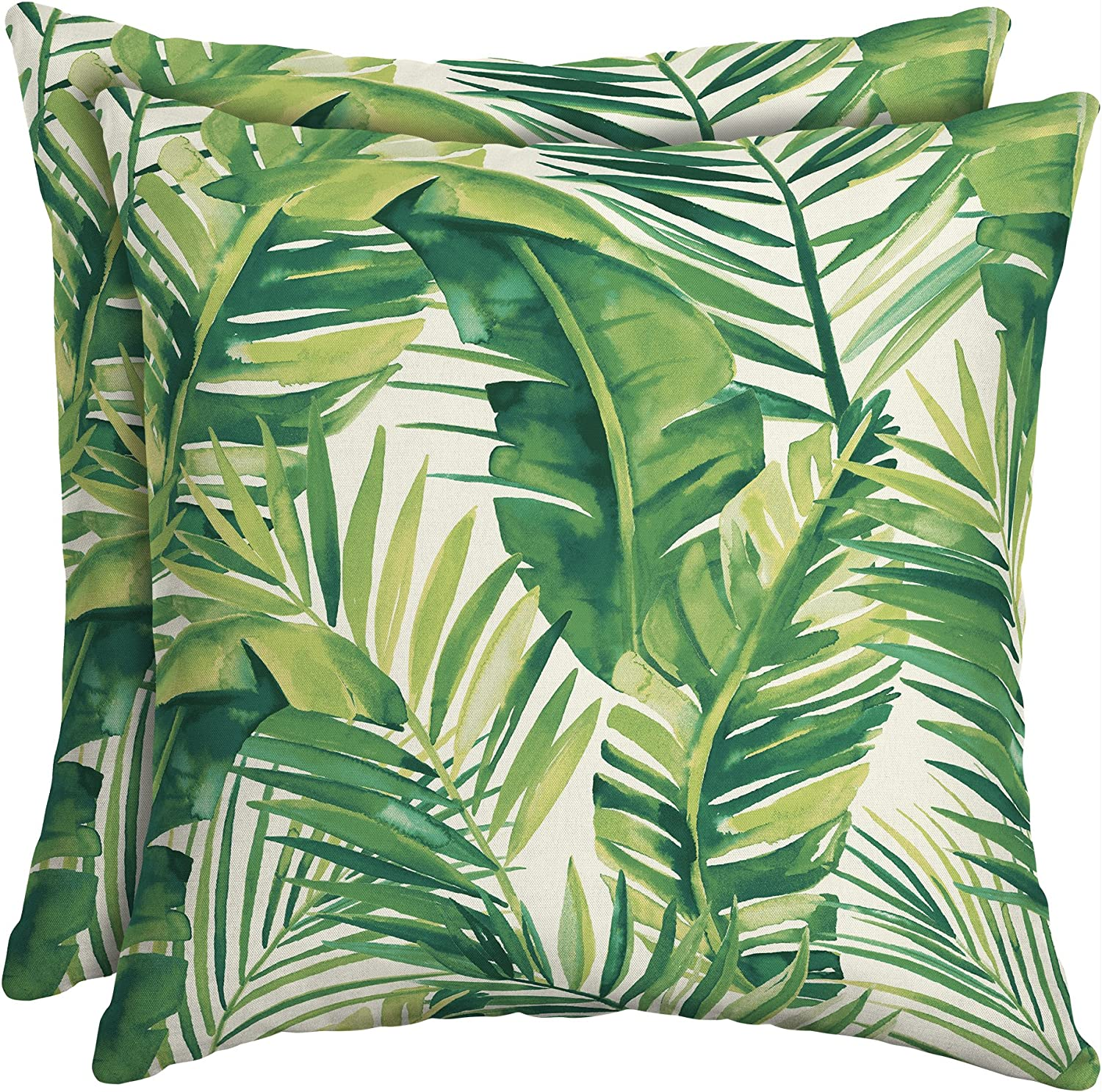 16 Patio Square Toss Decorative Pillow Set of 2, Palm