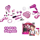Fashion Studio Cute Girls Beauty Salon Play Set with Hairdryer, Curling Iron, Mirror & Styling Accessories