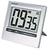 Lavatools KT2 Brushed Stainless Steel Digital Kitchen Timer & Stopwatch, Large Digits, Loud Alarm, Magnetic Stand (Stainless) (Color: Stainless)