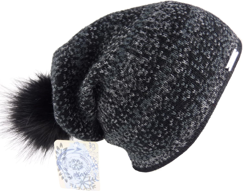Longbeanie mit gro/ßem Pompon Handschuhe Schlauchschal One Size AMALTEA 3 teilig Damen-Kombi Winter-Set Alma