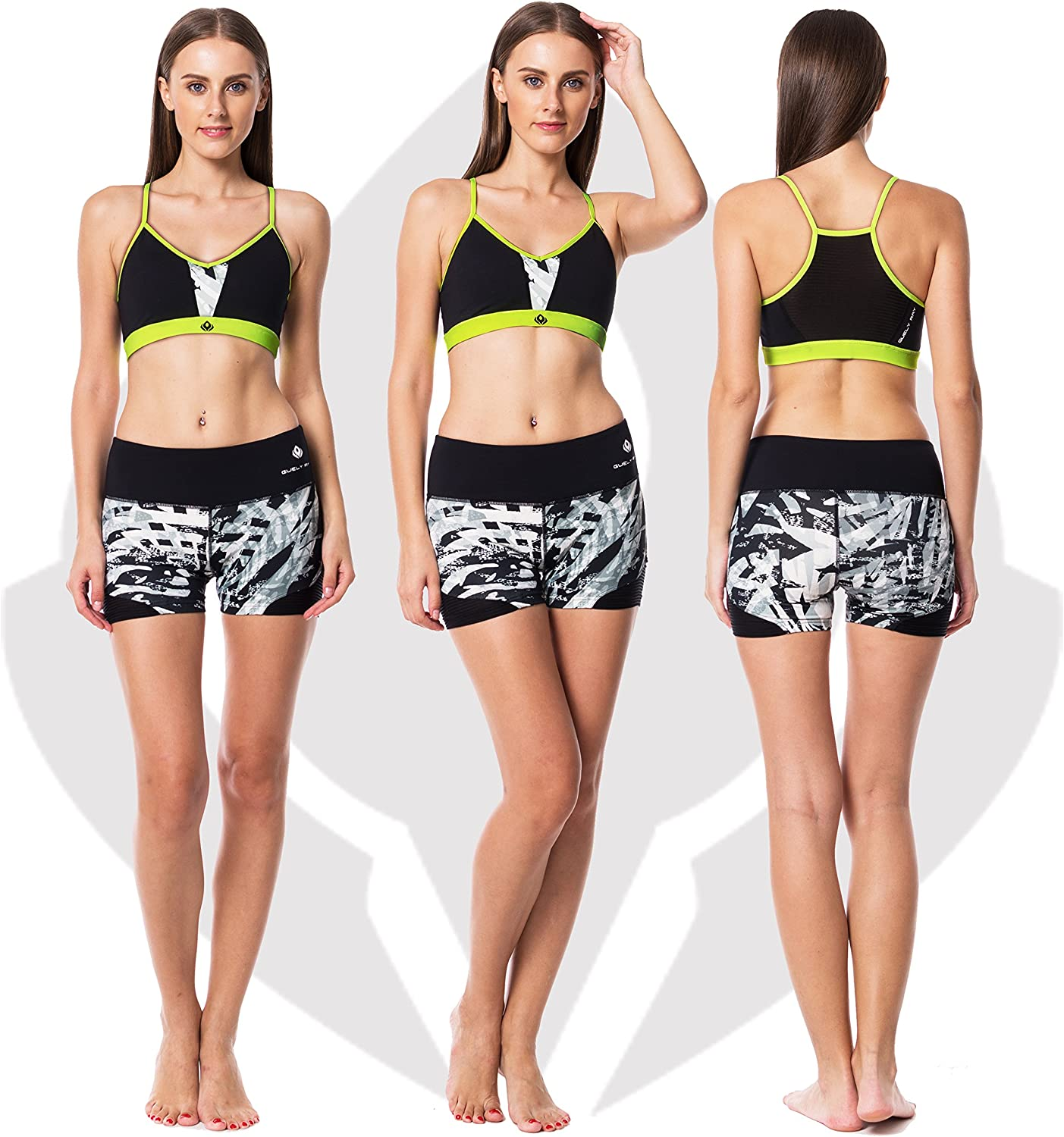 Guely Ray Womens Active Shorts for Workout /& Training with Hidden Pocket 11 Styles