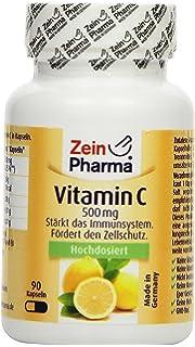 Cápsulas de Vitamina C 500mg de ZeinPharma • 90 cápsulas (3 meses de suministro) • sin gluten, vegano, kosher y halal •…