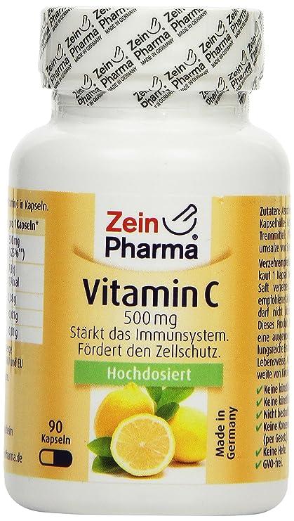 Cápsulas de Vitamina C 500mg de ZeinPharma • 90 cápsulas (3 meses de suministro)