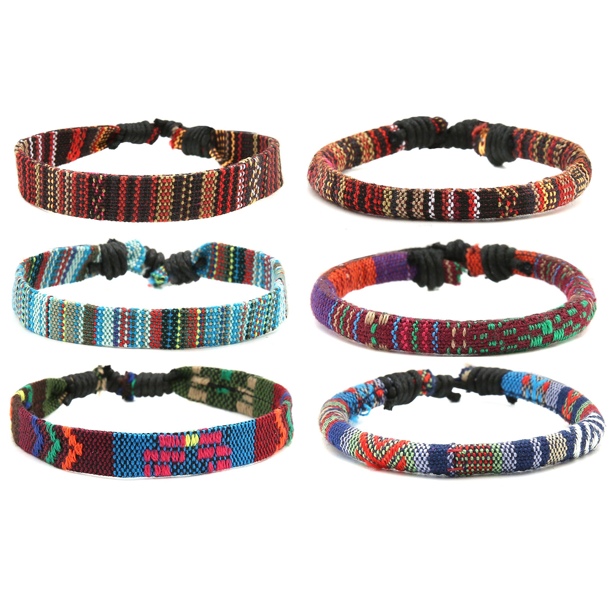 HZMAN Mix 6 Wrap Bracelets Men Women, Hemp Cords Ethnic Tribal Bracelets Wristbands (Mix 6 Wrap)