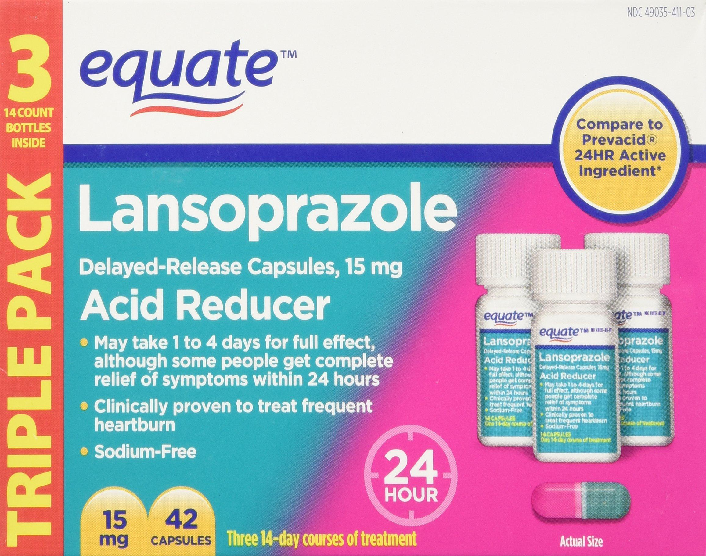 Equate - Lansoprazole 15 mg, Acid Reducer, 42 Capsules