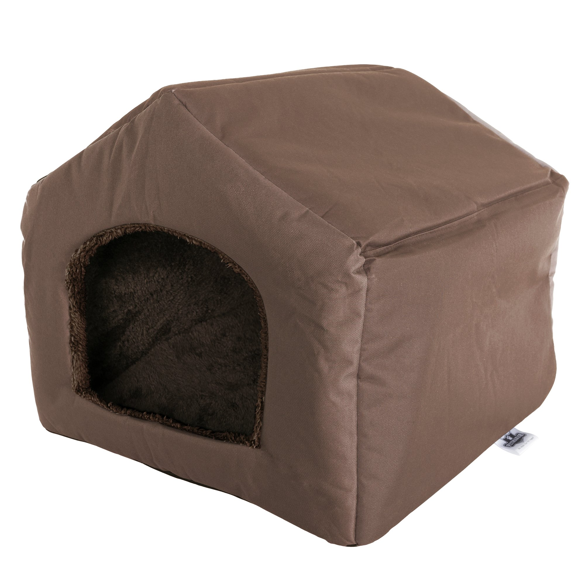 PETMAKER Cozy Cottage House Shaped Pet Bed, Brown, 19'' x 18. 5'' x 17''