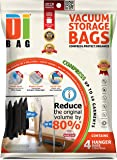 DIBAG ® 4 Hanging Space Saver Vacuum Storage Bags - Premium Travel Space Bags - Bag Size: 135 x 70cm - Double Sealed Compression Plastic Bags For Clothing Storage, Bedding & Packing