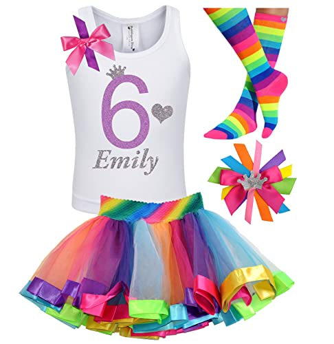 6th Birthday Shirt Rainbow Tutu Girls Princess Party Outfit 4PC Gift Set Personalized Name 6 Years