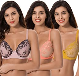 91a8f65225 Curve Muse 3 Pack Plus Size Unlined Semi-Sheer Balconette Underwire Lace Bra