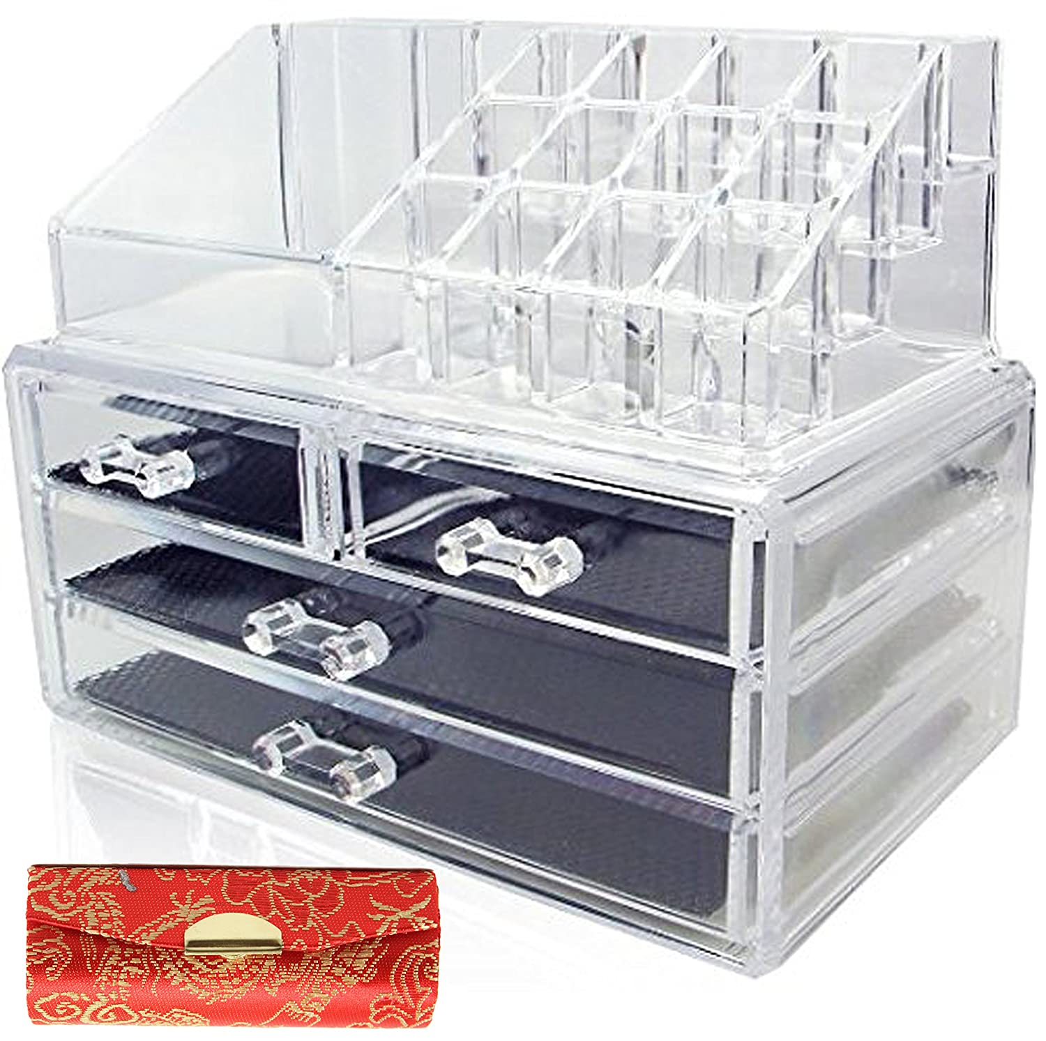 1 FREE lipstick case + Clear Acrylic Cosmetics Makeup Organizer 4 Drawers with 16 Compartments Top Section