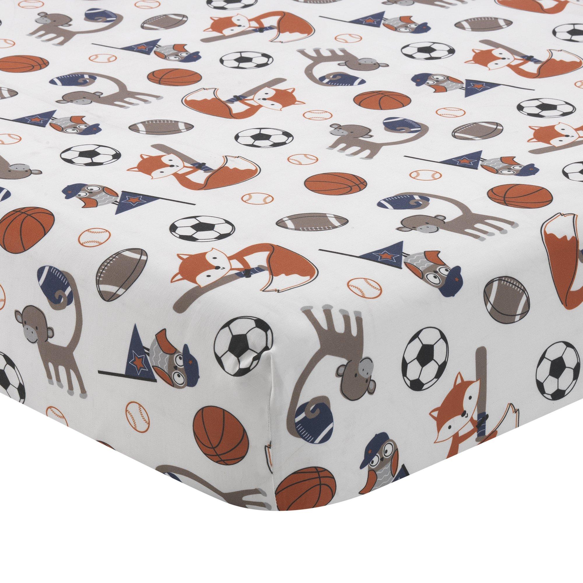 Bedtime Originals Baby League Sports Animals Fitted Crib Sheet, Blue/Orange