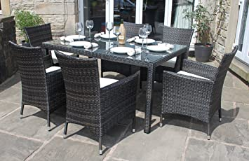 weatherproof rattan 6 seater garden furniture dining set in mixed brown