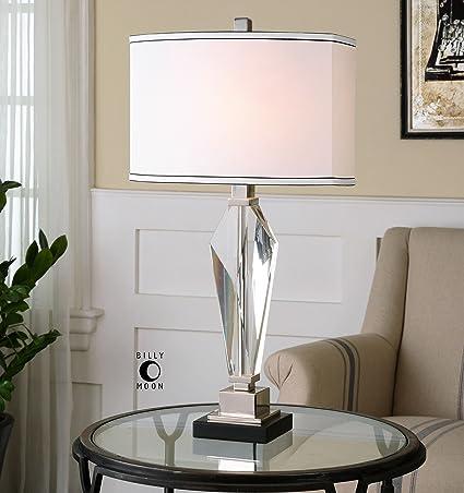 Geometric Cut Crystal Prism Table Lamp Elegant White Amazon Com
