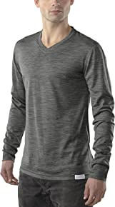 Woolly Clothing Men's Merino Ultralight Long Sleeve V-Neck - Moisture Wicking, Anti-Odor, Casual Athletic wear