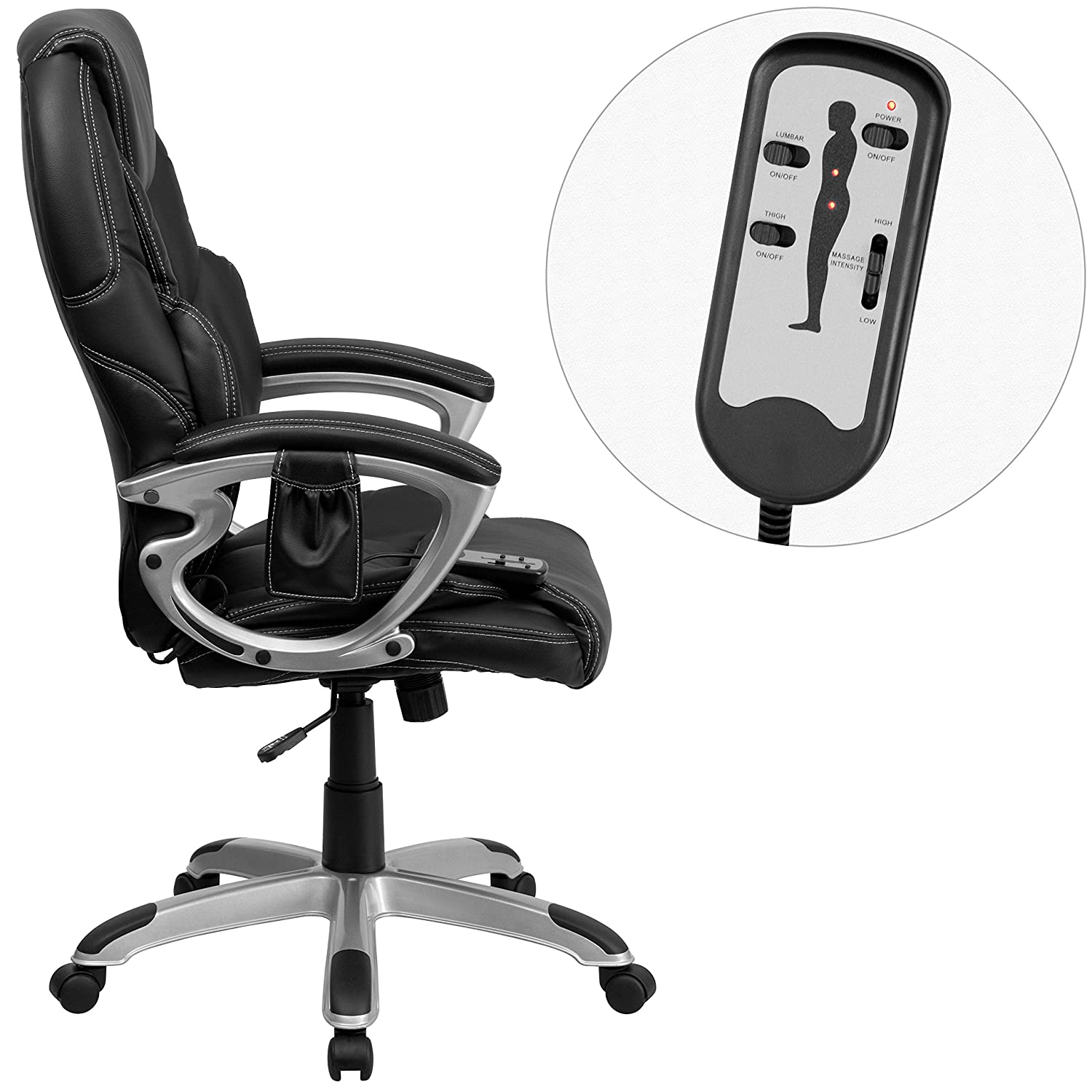 Amazon Flash Furniture High Back Massaging Black Leather