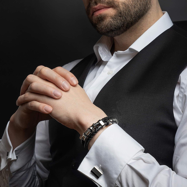 Pulsera de Cuero Premium para Hombre en Negro Cerradura Magn/ética de Acero Inoxidable en Negro y Plata Gran Idea de Regalo Joyero Exclusivo SERASAR