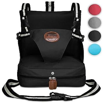 KIDUKU® Trona portátil de bebés, cojín elevador para viaje, asiento portátil para niños (Negro)