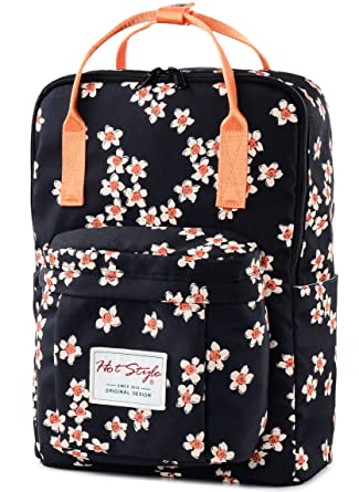 9859958d7c hotstyle Personalized Flora Waterproof Backpack for College Girls - Fits 14  inch Laptop - Black