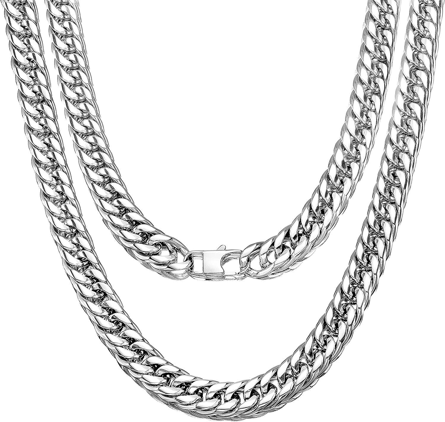 Amazon Com Jewelry Kingdom 1 Cuban Link Chain Necklace For Men And Women 13mm High Polish Stainless Steel Double Curb Chain Franco Cuban Link 13mm 20 Clothing
