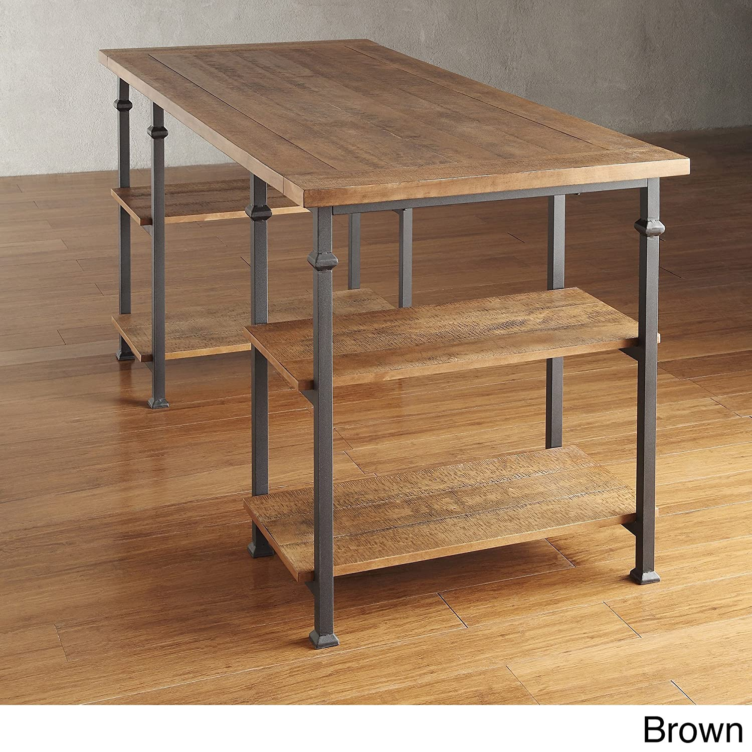 Amazon com industrial desk rustic wood and metal storage desk with shelves for the home or office included mousepad brown kitchen dining