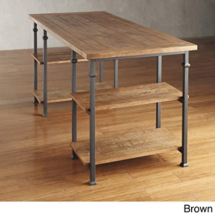 amazon com industrial desk rustic wood and metal storage desk with rh amazon com table with shelves philippines table with shelves set for small space