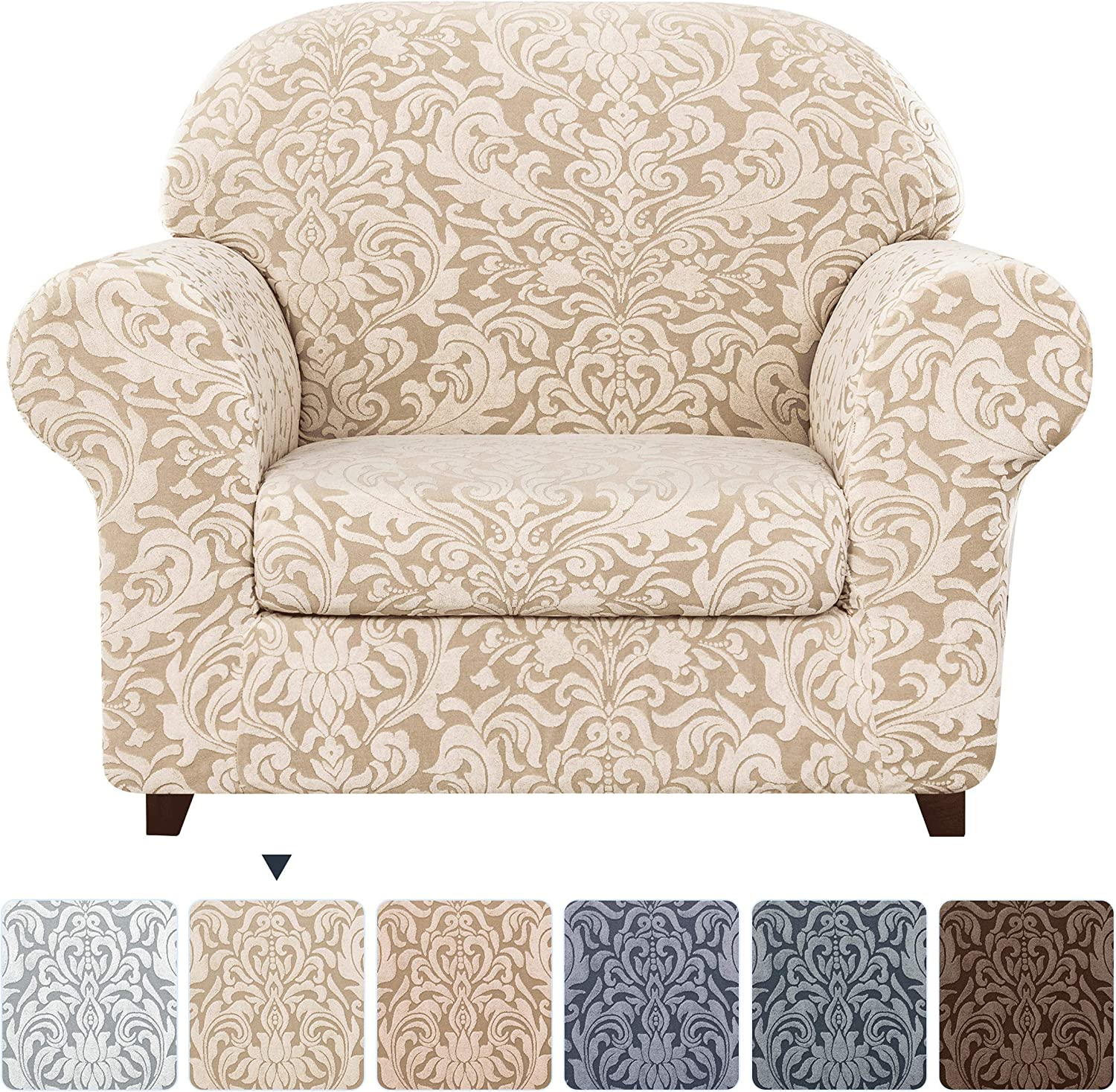 subrtex 2-Piece Slipcovers Stretch Knit Couch Sofa Stripes Pattern with Cushion Covers for Loveseat Washable Furniture Protector Small,Beige Brown