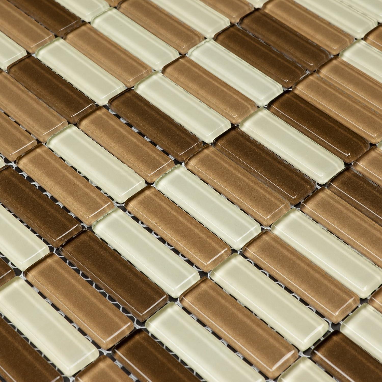 Backsplash Tile Wall Bathroom For Kitchen Shower Mosaic 12x12 Sheets Glass Beige Brown Martini Mosaic Aria Cafe Mocha Sample 4 In X 4 In Aria Amazon Com