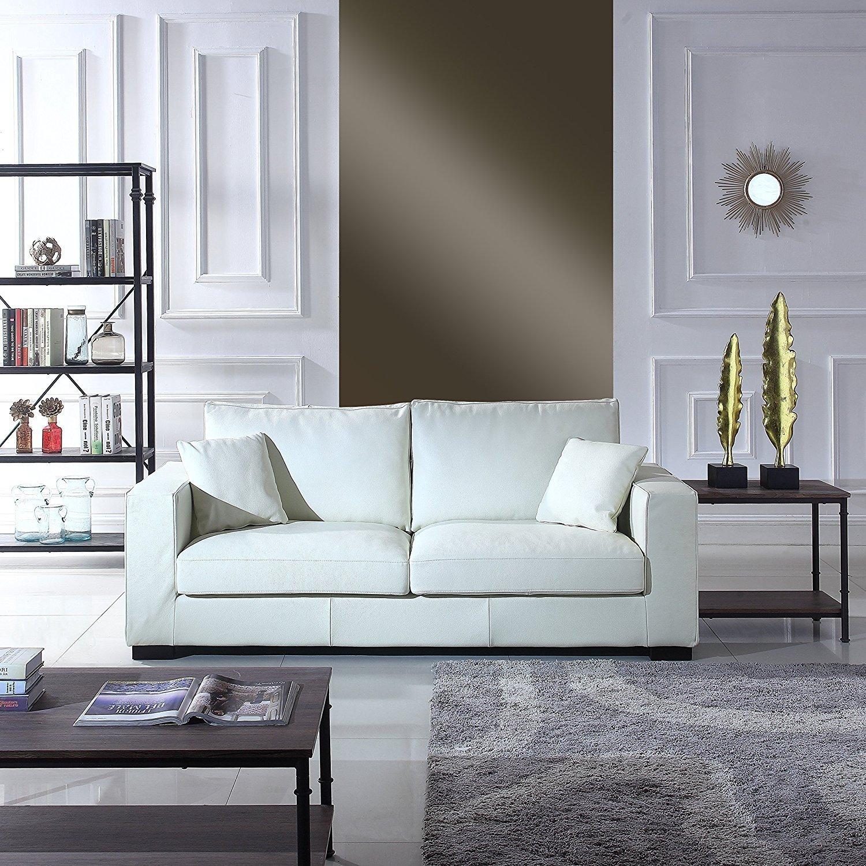 Canapé à accoudoirs Larges avec 2 Coussins - Cuir Italien véritable Blanc - pas cher